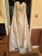 Pure Silk Champagne Gold Applique Wedding Dress 10/14 Only Shop Tried Tie Back