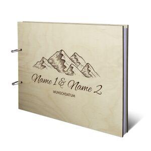 Hochzeit Gästebuch Birkensperrholz Cover individuell DIN A4 quer - Berge