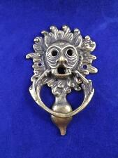 DOOR KNOCKER BRASS DEVIL HEAD FLAME HAIR GOTHIC DEMON SCARY VINTAGE COLLECTABLE
