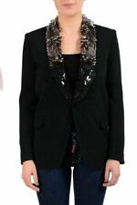 Dsquared2 Women's Sequin Decorated One Button Black Blazer US XS IT 38