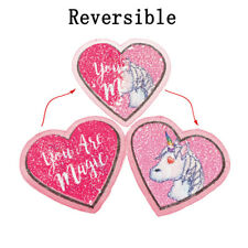 Heart Unicorn Reversible Sequins Sew On Patches for DIY Clothes Patch AppliquePD