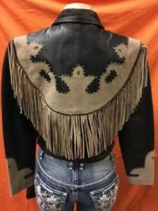 9731J Ladies Fringe Black/Brown Western Style Jacket