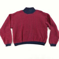 Liz And Co Claiborne Cropped Sweater L Boxy Cotton Red Blue Mock Neck Retro Vtg