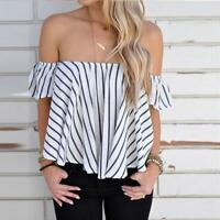 Fashion Sexy Women Cotton Blouse Off Shoulder T-Shirt Long Sleeve Casual Top