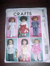 """McCall's Crafts Doll Clothes Patterns for 18"""" girl doll and toy dog"""