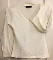 Stripe by Rayure Paris White Lace Long Sleeve V-Neck Top Size 4 Regular