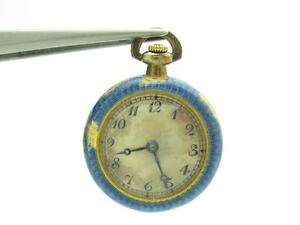 14k Yellow Gold Antique Vintage Estate Blue Enamel Pocket Watch With Diamonds