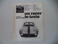 advertising Pubblicità 1969 FIAT BERTONE RACER TEAM