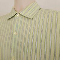 Banana Republic Button Down Shirt Mens Size Large Green Striped Long Sleeve