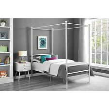 Metal Canopy Bed Frame Platform Queen Twin Full Size Modern Black White Finish  sc 1 st  eBay & Mainstays Metal Canopy Beds Frames | eBay