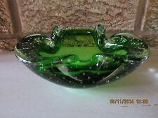 Murano glass deep green bullicante bowl freeform