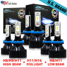 JDM ASTAR H9+H11+H11 LED Headlight Light Bulbs H8 High/Low Beam+Fog White 6500K