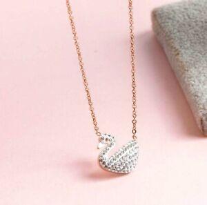 White Swan Rose Gold Titanium S.Steel Pave Cubic Zirconia Bird Pendant Necklace