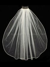 1T Ivory Bridal Shoulder Short Scattered Rhinestones Rattail Edge Wedding Veil