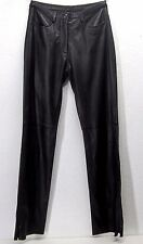 bebe Black Leather Pants With Zip Fly Front & Lower Leg Side Zippers Size 4 EUC