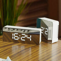 Creative LED Digital Alarm Clock Night Light Thermometer Display Mirror Lamp UP