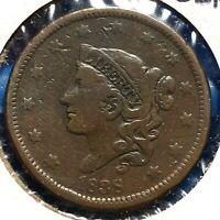 1838 1C Coronet Head Cent (57622)