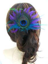 Purple Peacock Feather Hair Clip Fascinator Handmade in UK 'Hyacinth'