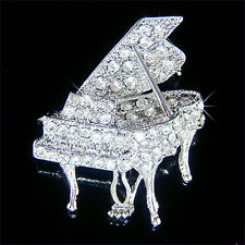 w Swarovski Austrian Crystal Music musical instrument GRAND PIANO Pin Brooch NEW