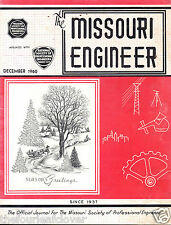 The Missouri Engineer  December 1960 Professional Society Magazine Rare