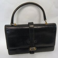 Hermosa Vintage Lagarto Negro Skin sólido Bolso De Mano