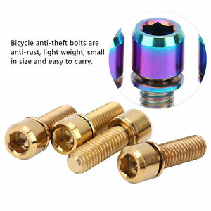 4Pcs M6x18 Portable Titanium Alloy Mountain Bicycle Road Bike Stem Screw Bolts