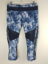Lululemon Mesh With Me Crop Pants Sea Side Silver Fox Albert Lake Blue Size 8 VG