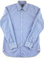 J Crew Shirt Men's Size M Button Down L/S Blue White Striped 2 Ply