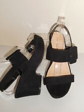 BLACK FAUX SUEDE STRAPPY WEDGE SANDAL/ SHOES SIZE 7 UK WIDE EEE BNWT FROM EVANS