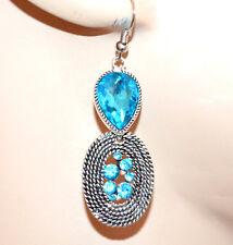 ORECCHINI donna argento etnici strass cristallo azzurro celeste gocce G39