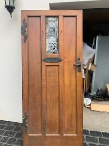 Antique Oak Front Door 1920's  3 panel