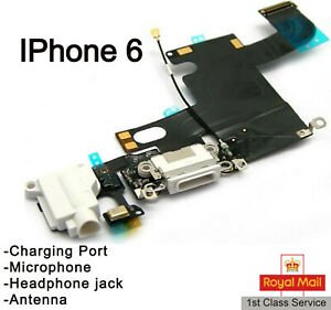 For IPhone 6 Charging Port Charger Flex Headphone Jack microphone Part White