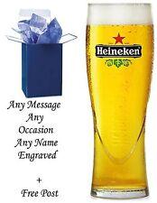 Personalised Engraved Branded 1 Pint Heineken Lager Beer Glass Gift Boxed