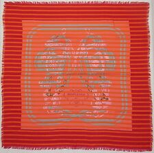"Auth HERMES New ""Brides de Gala"" by Hugo Grygkar Red Cashmere/Silk Scarf 8335"