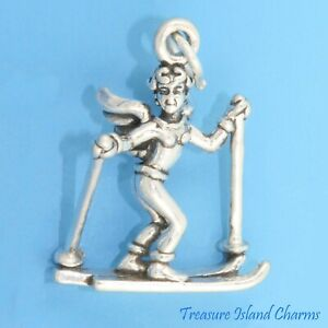 Skiing Guardian Angel Snow Skier Ski 3D 925 Solid Sterling Silver Charm Skis