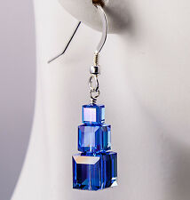 Triple Cube Stack Earrings Sapphire Blue AB made with Swarovski Crystal Sterling