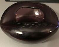 "Vintage 4.5 "" Mid Century Amethyst Glass 3 Sided Ashtray Used Cigar Cigarettes"