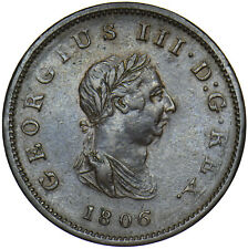 More details for 1806 halfpenny - george iii british copper coin - very nice