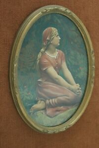 SIGNED CHAPU HENRI (1833-1891) ST JOAN OF ARC WATER COLOR SKETCH SCULPTURE 1872