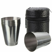 4PCS Stainless Steel Cups Mug With PU Cover Case Coffee Tea Beer Camping Tu S6J7