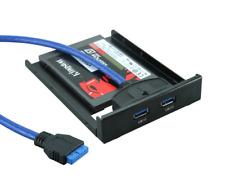 """3,5"""" USB 3.0 Frontpanel PC Computer 2x USB 3.0 Buchse + Halter für 2,5"""" HDD/SSD"""