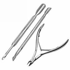 New Stainless Steel Nail Cutter Set Cuticle Spoon Pusher Nipper Clipper 3pcs UK