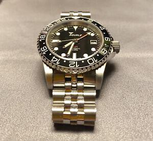 """Squale 1545 GMT """"Giramondo"""" Watch with ceramic bezel & stainless steel bracelet"""