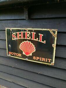 Shell Enamel Sign shell motor spirit sign motor oil petrol pump garage sign