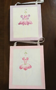 Pottery Barn Fairy Ballerina Canvas Pics Pink/Purple Girl's Nursery (2) Rare