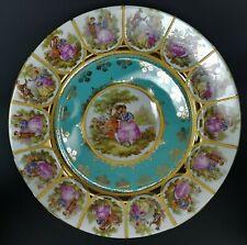 """Vintage JKW Porcelain Bavaria Fragonard Love Story Plate Teal 10 3/8"""""""