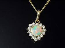 585 er Gold 14 Karat Gelbgold Kette mit  Anhänger Herz weiße Zirkonia  Opal