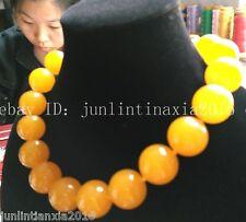 New Huge 20mm Yellow Topaz Gemstone Round Necklace Beads 18''