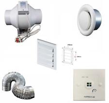 """125mm Bath Shower InLine Extractor Fan Kit 5"""" Single Speed + Timer Switch"""