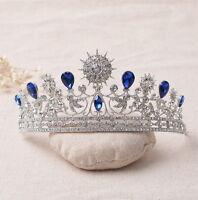 6cm High Adult Big Stars Blue Drip Crystal Leaf Tiara Crown Wedding Pageant Prom